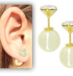 Brinco Dior Inspired folheado a ouro  pérola sintética e strass de 7 mm - Copia
