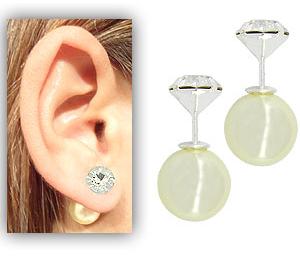 Brinco Dior Inspired folheado a prata c pérola sintética e strass de 7 mm - Copia