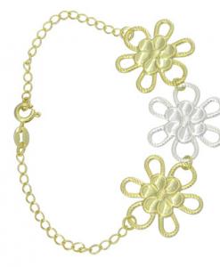 Pulseira folheada a ouro  adornos em forma de flor e detalhe prateado