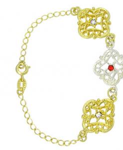 Pulseira folheada a ouro filigranas, strass e detalhe prateado (cores sortidas)